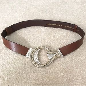 Chico's Brown Leather Circle Metal Latch Belt